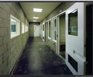 hallway with masonry