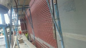 masonry work on school construction